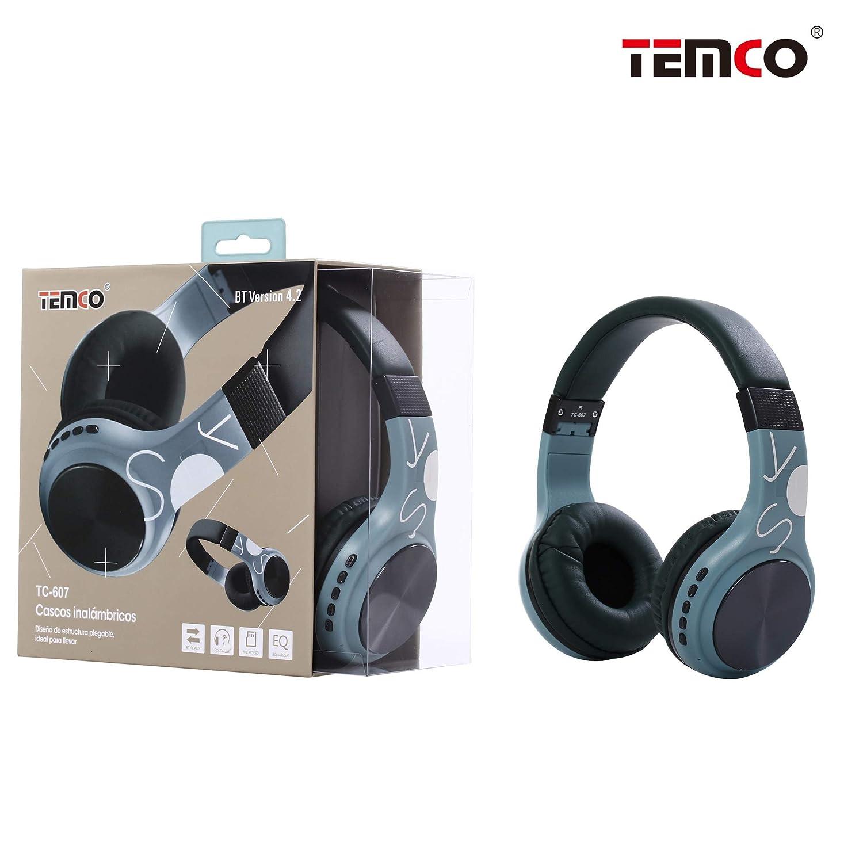 TEMCO Auriculares Bluetooth de Diadema Inalámbricos, Cascos Bluetooth Plegable con Micrófono Manos Libres,Almoadilla Suave para TV, PC, Tablet, Móvil, ...