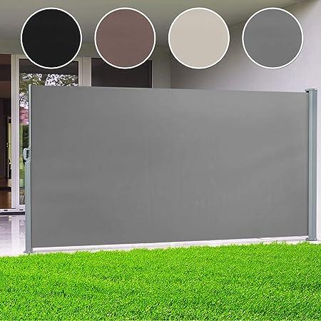 casa pura® Seitenmarkise Anthrazit | ausziehbar bis 300 cm Länge | effektiver Sichtschutz, Sonnenschutz & Windschutz | für Te