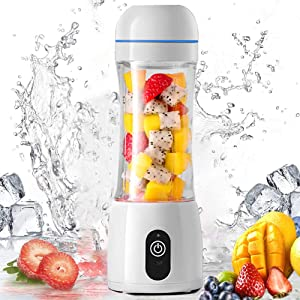 Li-HIM Portable Personal Blender/USB Rechargeable Juicer Cup, Travel Blender with 2000 mAh Battery for Home Outdoor,White