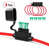Nilight GA0004 5Pack 12AWG Inline Wiring Harness 12 Gauge ATC/ATO Automotive Holder with 30A Fuse Blade Standard Plug…