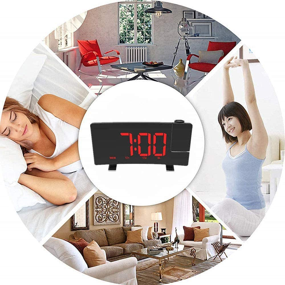 GRX-ZNLJT Projection Alarm Clock Projection on Ceiling for Bedrooms Snooze Digital Alarm Clock with Display Dimmer Desk Wall Ceiling Clock for Kid Elderly 180/° Projector