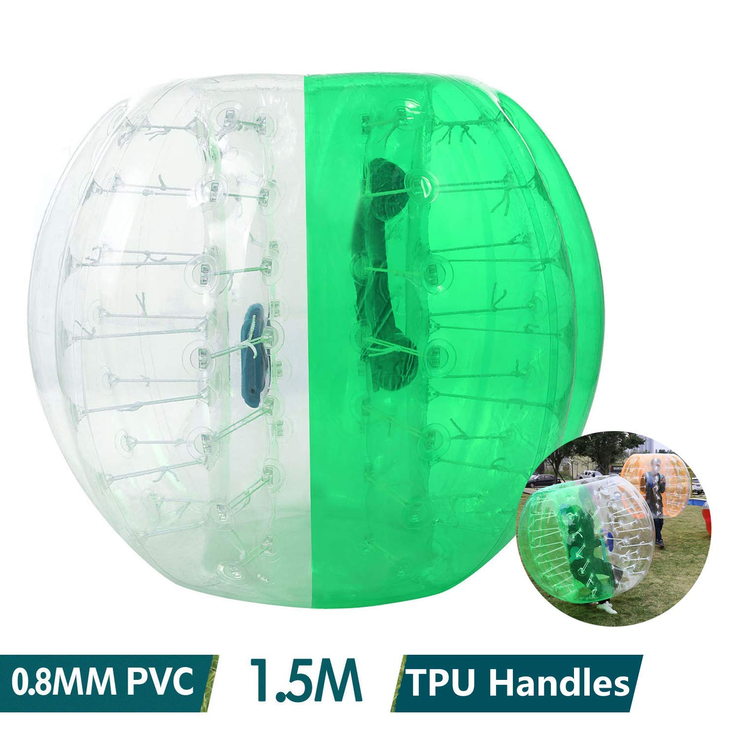 shaofu Inflatable Bumper Ball Dia 4/5 ft (1.2/1.5 m) Human Hamster Ball for Adults/Kids Eight Colors(US Stock) (Dia 5 ft/Green) by shaofu