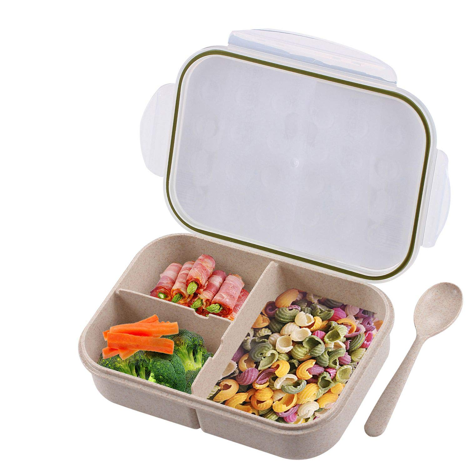 Bento Box for Kids, Leakproof With 3 Compartments, FDA Approved and BPA-Free Bento Lunch containers For Kids By BusyMouth (white)