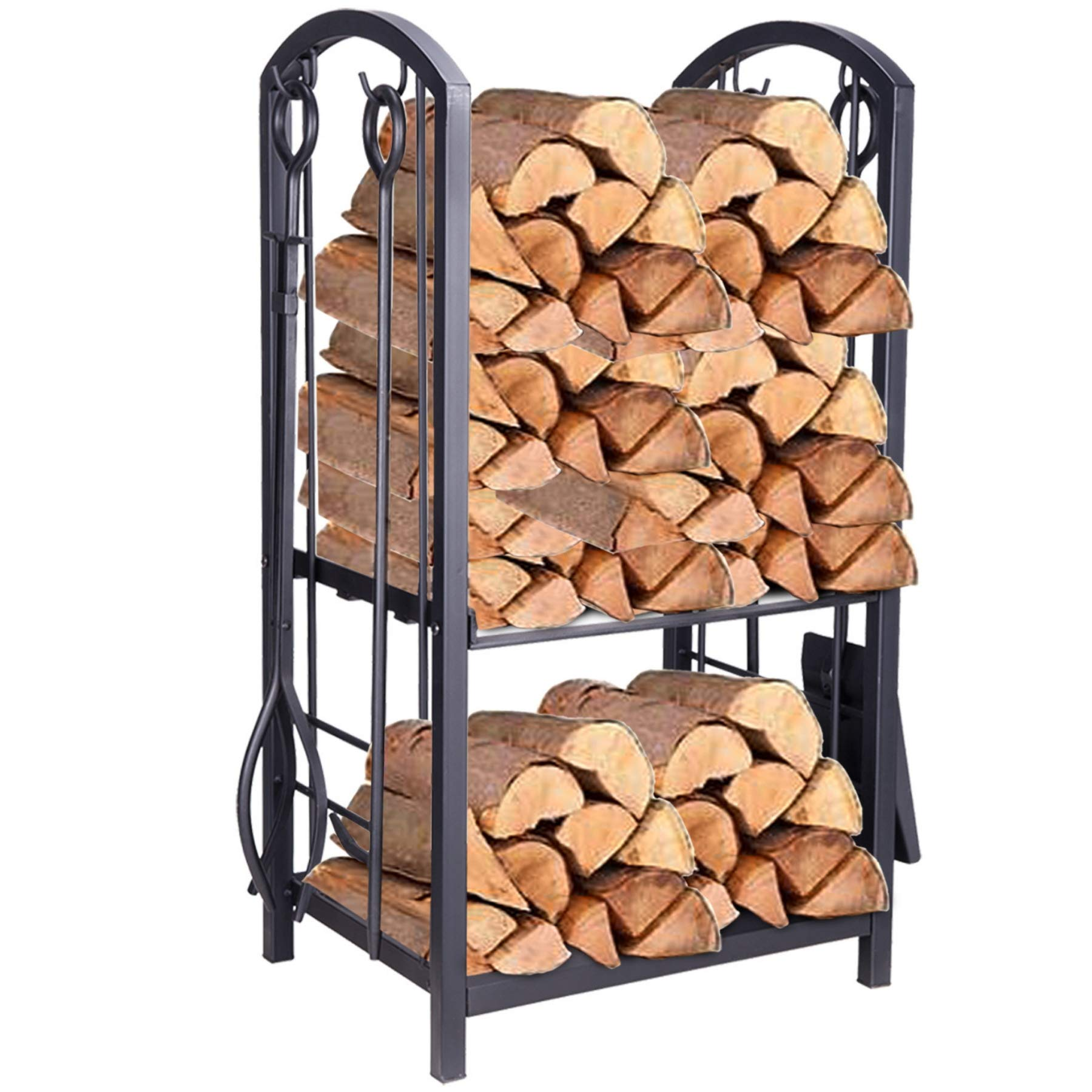 Pinty Firewood Log Rack Firewood Storage Fireplace Tool Set with 4 Tools Indoor Outdoor Firewood Holders Lumber Storage Stacking Black