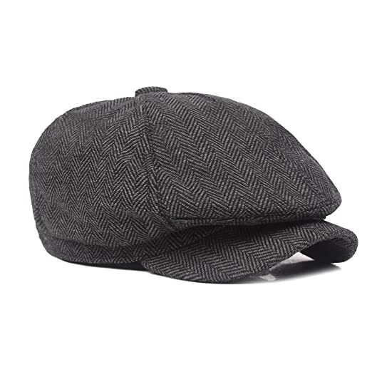 329c8a7c Vikenner Men's Woolen Driving Hat Thickened Cap Beret Cabbie Flat Hunting  Cap
