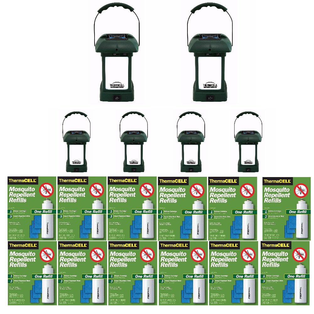 Thermacell MR-9L Outdoor Mosquito Repellers/Lanterns (6) & Twelve Refill Packs Bundle (72 Mats, 24 Cartridges)