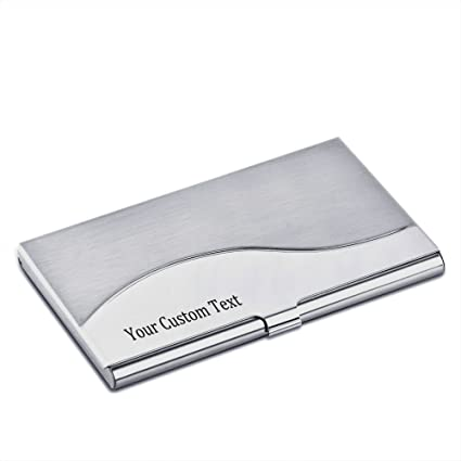 Amazon personalized stainless steel business card case holder personalized stainless steel business card case holder engraved with your custom text 3 colourmoves