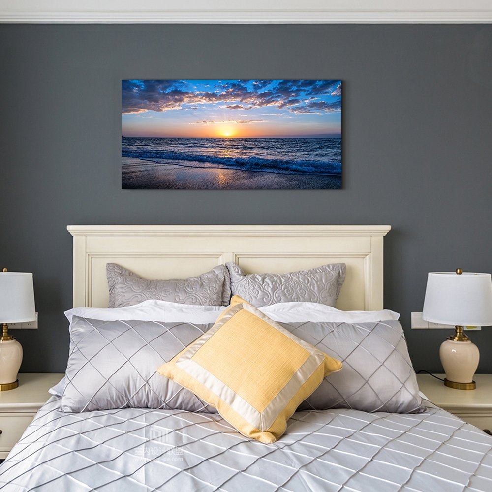 hyidecor art Wall Art Moon Sea blue Ocean Landscape Paintings Bedroom  Canvas Art Print wall art for living room Paintings for Wall Decor and Home  ...