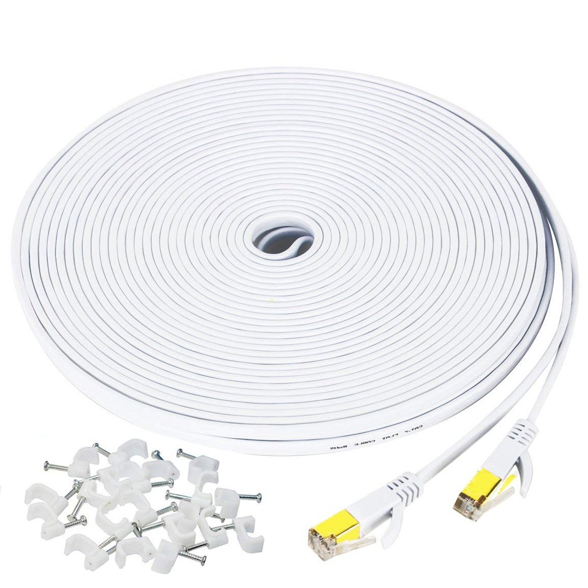 50 ft Ethernet Cable Cat7,Flat Gigabit Network Cable for Computer/Router with Clip&RJ45 Connector,Higher Speed Than Cat6/Cat5 Shielded Internet LAN Cord for PS4,Xbox,Adapter,Switch,Modem,PC-White by MATEIN (Image #1)