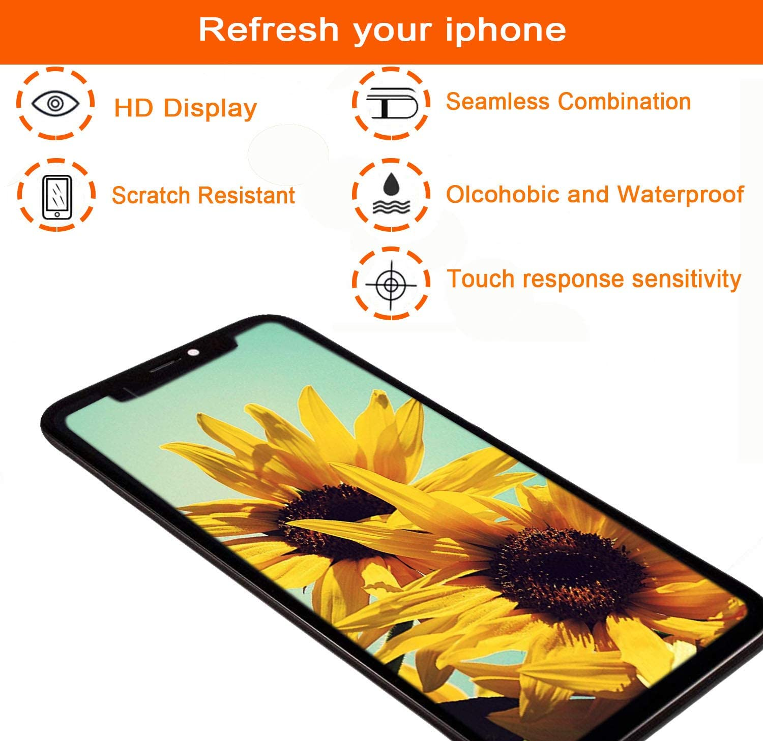 Magic Screen Replacement fits iPhone X 5.8 inch Flexible OLED LCD Screen Display digitizer Assembly Full Complete Front Glass 3D Touch Screen Black