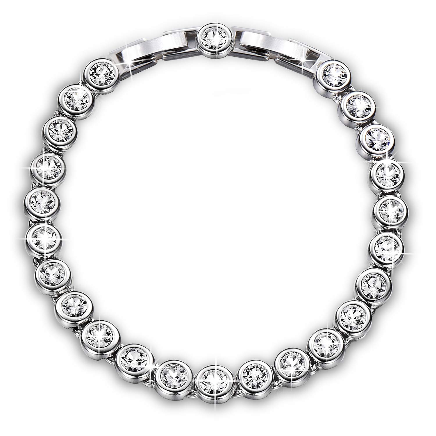 """YALONG Tennis Bracelet for Women Jewelry April Birthstone White Gold Plated 6.5""""+1"""",Crystals from Swarovski"""
