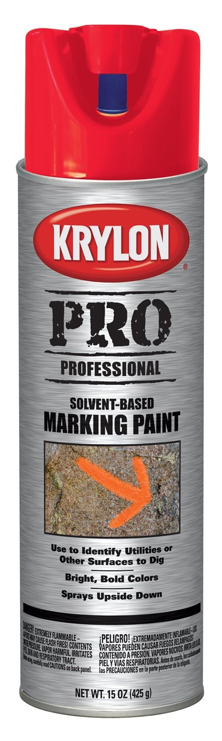 Krylon K07309000 Solvent-Based Contractor Marking Paint,  Fluorescent Safety Red, 15 Ounce by Krylon (Image #1)