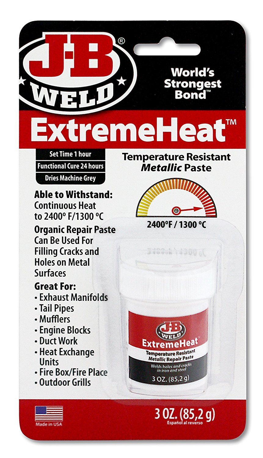 J-B Weld 37901 4 Pack 3 oz. Extreme Heat Temperature Resistant Metallic Paste Jb Weld Company