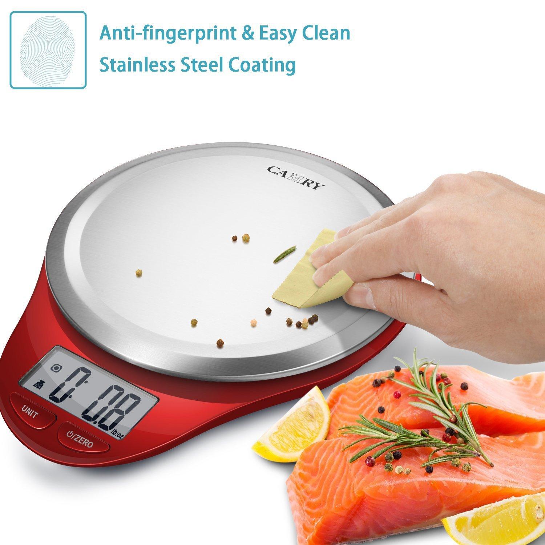 Camry Báscula Digital de Cocina en Acero Inoxidable, Balanza Electrónica para Alimentos,Escala Multiusos electrónica para Alimentación, Joyería y Más, ...