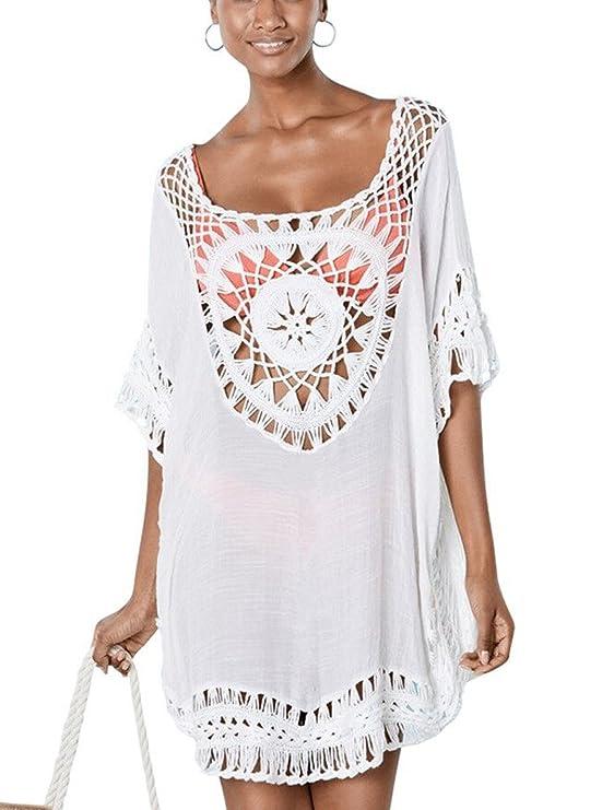 Jastore®Damen Strandkleid weiß kurz Blume Kleid elegant Maxi Strand Pareo Damen Strandponcho Sommer Überwurf Kaftan Bikini Co