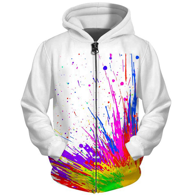 EspTmall 3D Men Hoodies Zip Up Splatter Color Paint Stains 3D Print Streetwear Casual Jacket Men Women Outwear Plus Size 5XL
