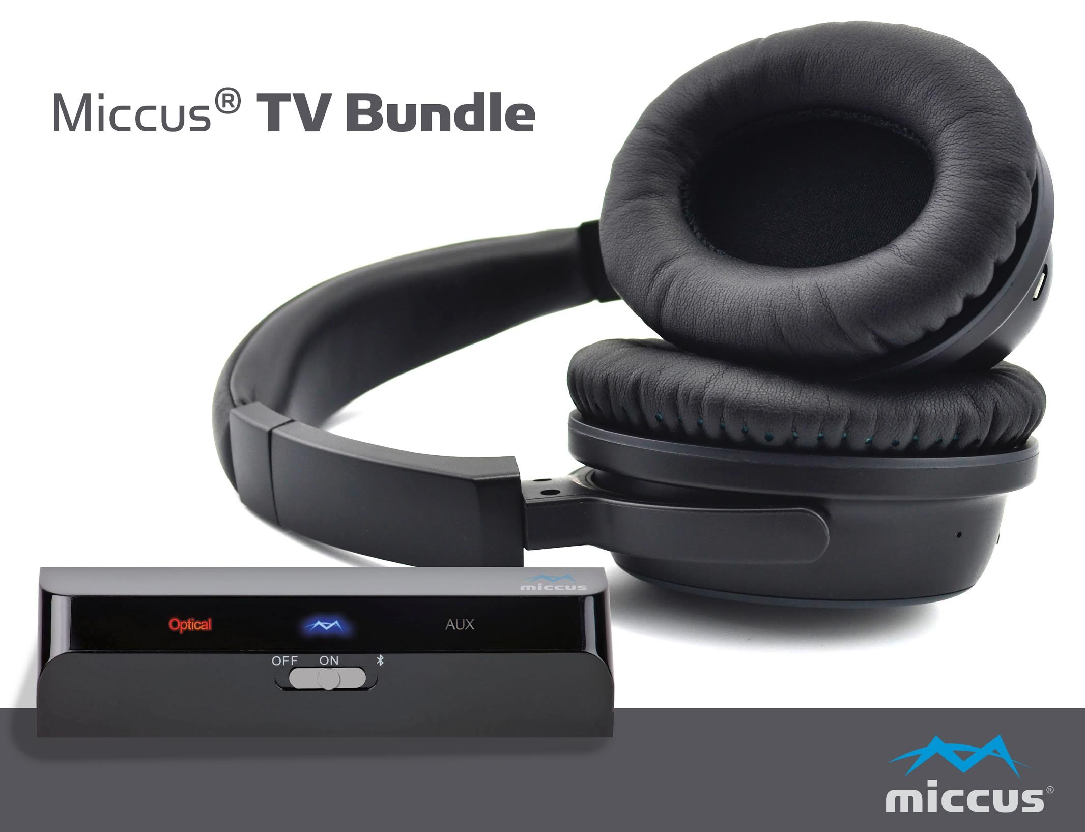 Wireless Headphones for TV with Optical Bluetooth 4.1 Transmitter System, Listen to Your TV in HD with No Audio Delay, Paired and Ready to Use, aptX Low Latency premium sound hard of hearing - Miccus by Miccus, Inc.