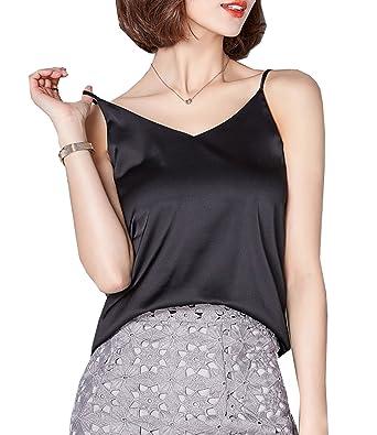 310de398dda089 Ayervici Womens Soft Silk Camisoles V Neck Spaghetti Strap Cami Tank Tops  (Black
