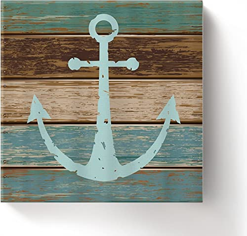Framed Wall Arts-Nautical Anchor Giclee Canvas Prints Gallery Wrapped Modern Artwork Rustic Barn Wood Pictures Painting