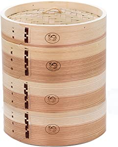 HUANGYIFU Chinese 7-12 Inch Handmade Food Wooden Steamer 3 Tiers Deep Wooden Basket - for Dumpling Dim Sum