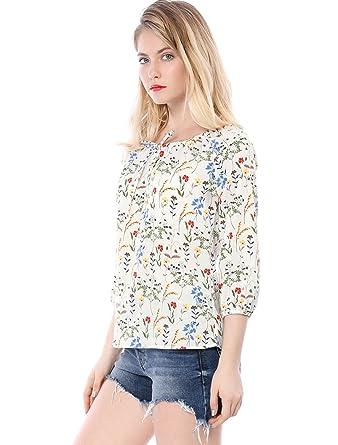 Allegra K Blusa Para Mujer Redondo Cuello con Cordón Manga Raglán 3/4 Estampado Floral: Amazon.es: Ropa y accesorios
