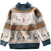 Niños Niñas Suéteres Navideños Manga Larga Reno Jersey Pullover de Punto Sudadera Prendas de Punto Jumper Ropa