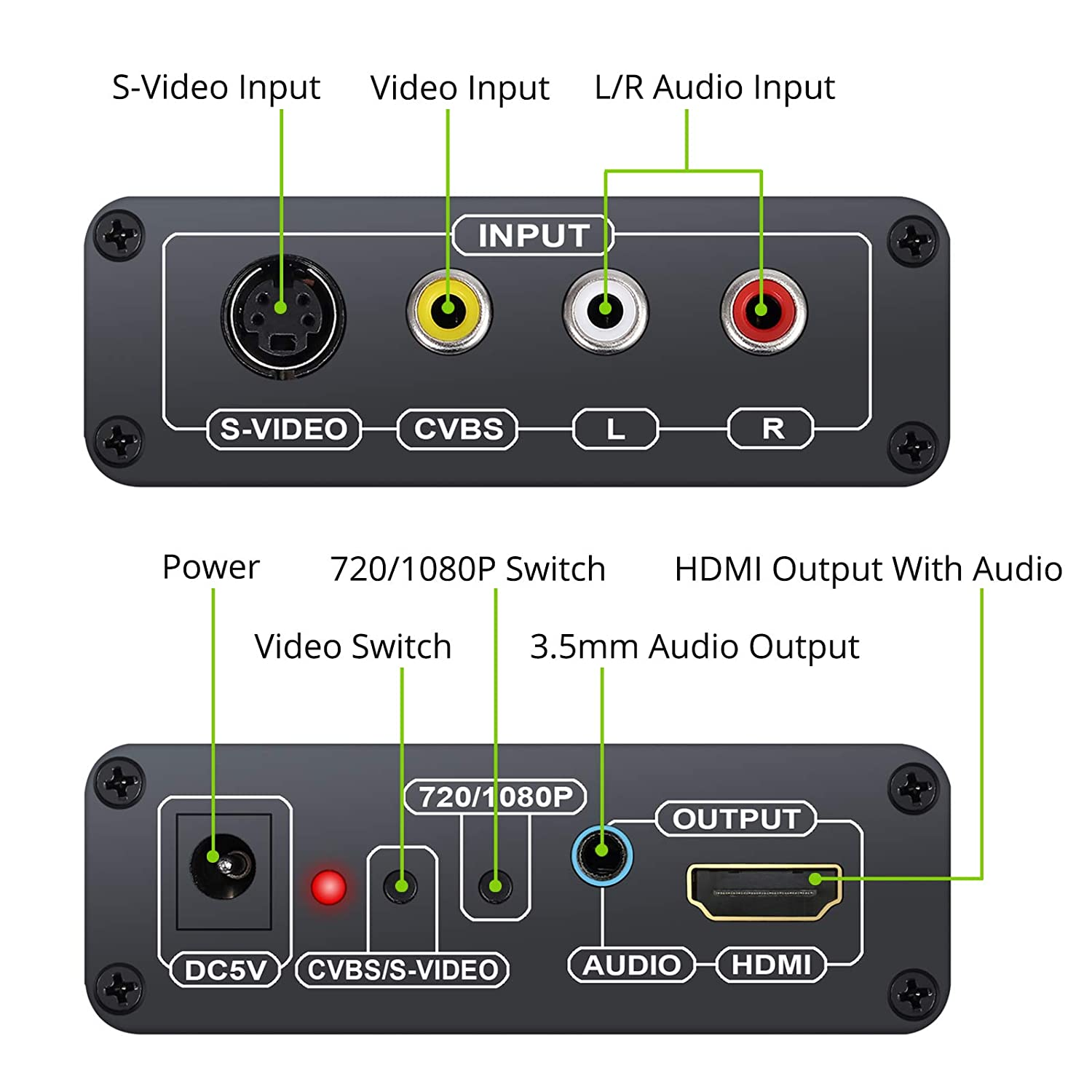 LiNKFOR 1080P 3RCA S-video to HDMI Converter and 3.5mm Port Output ...