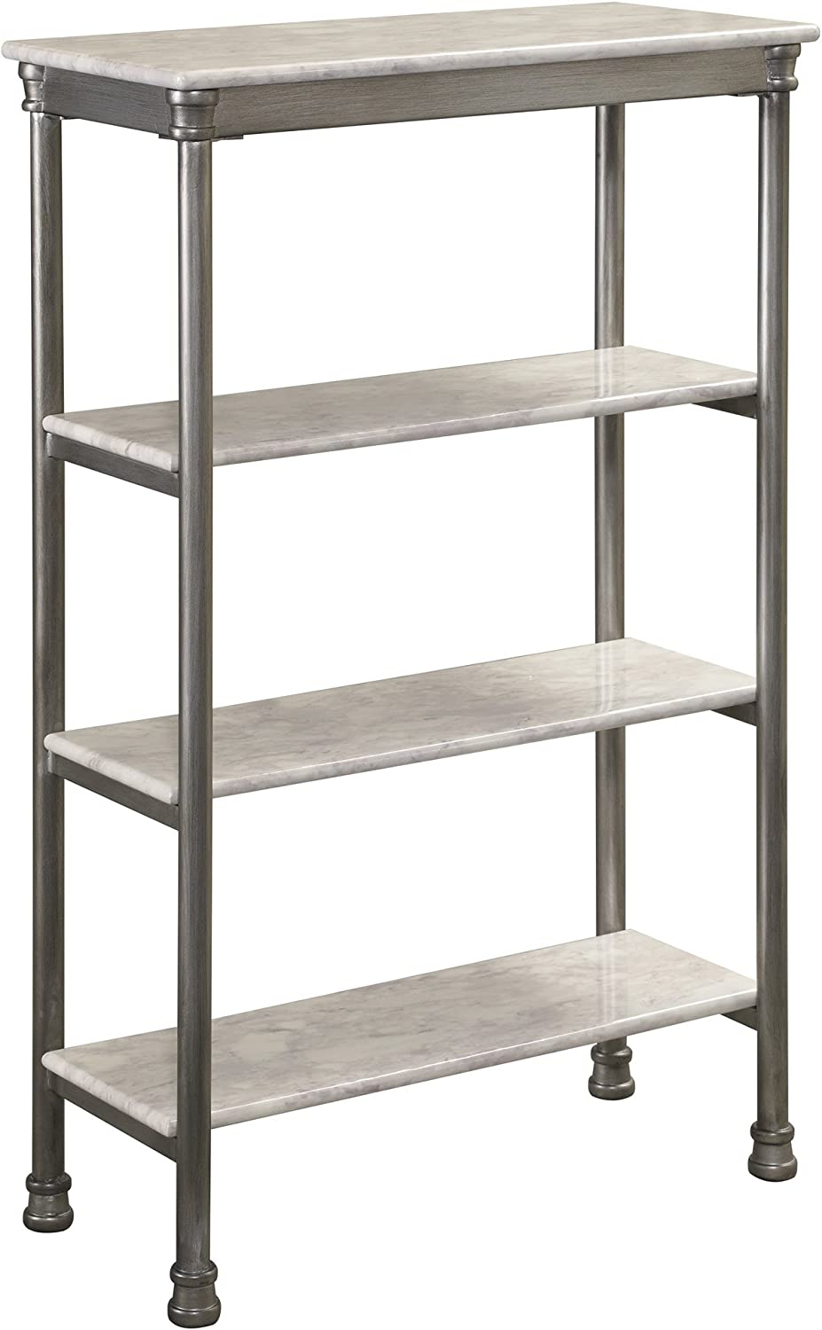 Home Styles The Orleans Marble Four-tier Shelves with Laminated Shelves, Powder-coated Steel Frame, and Levelers