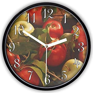 Ja Yhou dontcy Black Vintage Silent Non Ticking Wall Clock - Fall Autumn Apples Design 10 Inch Quality Quartz Battery Operated Personality Fashion Round Home/Office/Classroom/School Clock