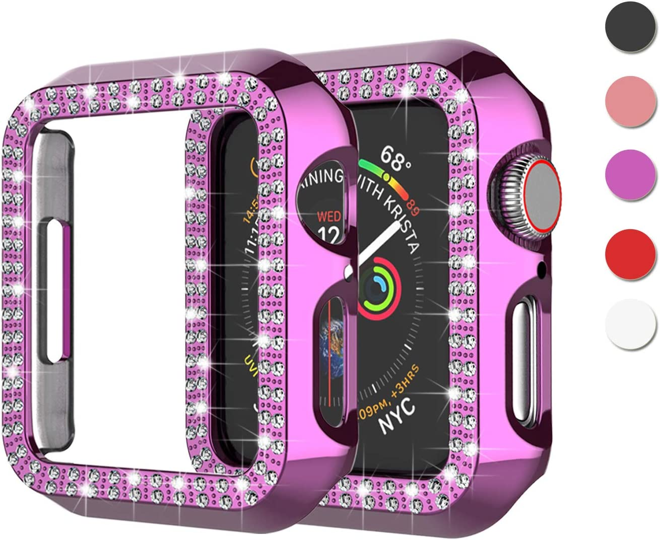 Njjex Bling Case Compatible For Apple Watch 38mm 40mm 42mm 44mm, Crystal Diamond Apple Watch Protector Case Slim PC Anti-Scratch Bumper Frame Protective Cover For iWatch Series SE/6/5/4/3/2/1 [Purple]
