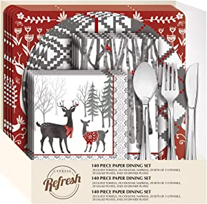 """Cypress Home White Woods 85 Piece Paper Dining Set - 19.99"""" x 11"""""""