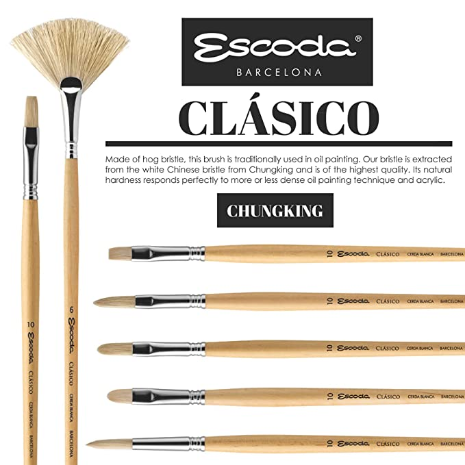 Escoda Clasico 4628 Oil and Acrylic Chungking White Bristle Paint Brush Bright Size 8