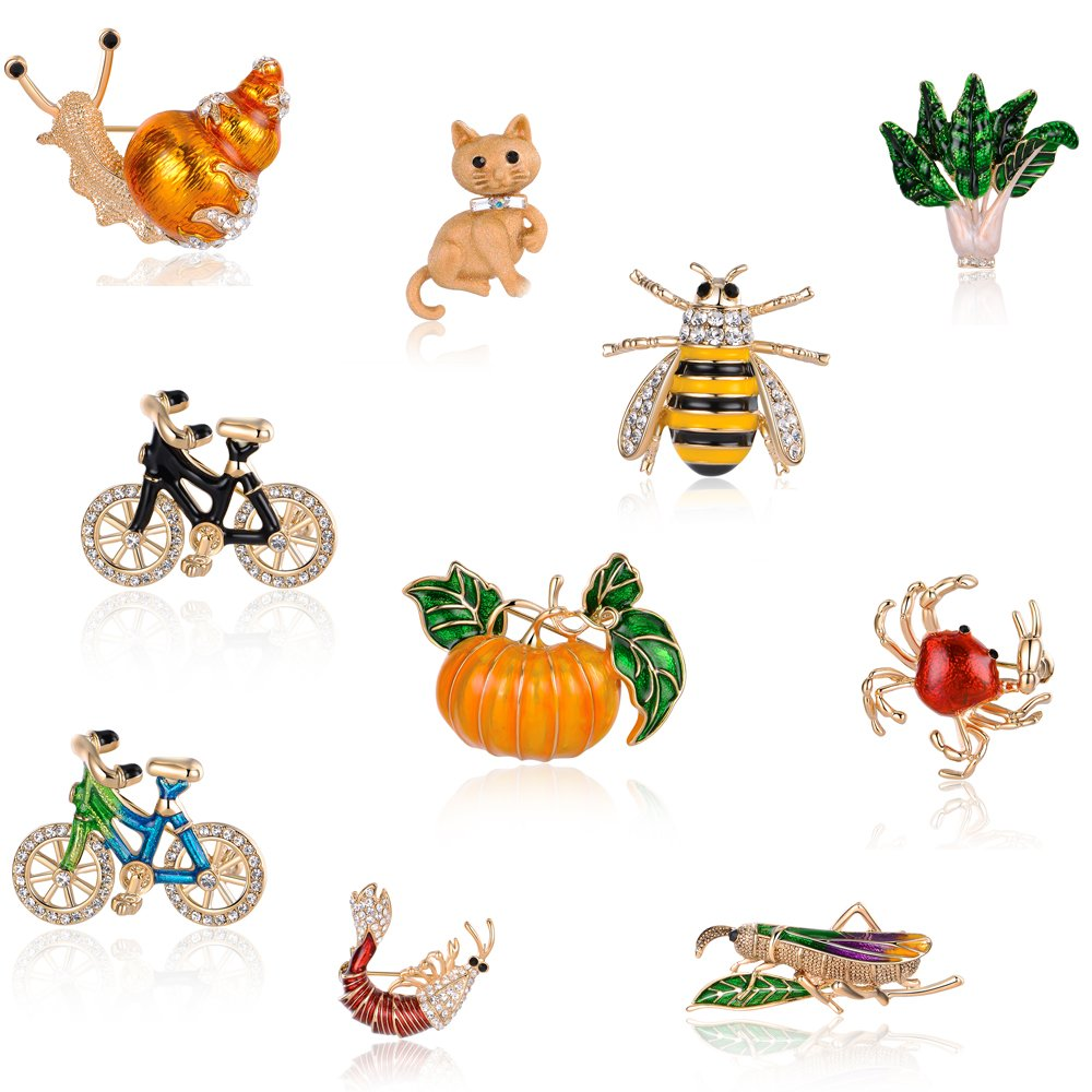 Mytys Fashion Crystal Cz Animal Insert Enamel Brooches Pins Party Mothers Day Brooch Collar Jewelry Accessories CuteGift