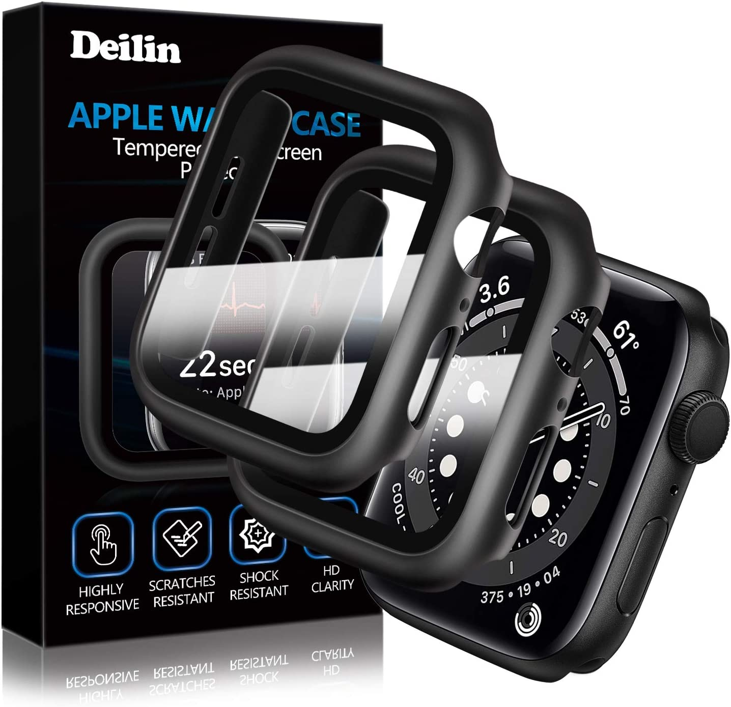 [2 Pack] Deilin Hard PC Case with Tempered Glass Screen Protector Compatible with Apple Watch Series 6/5/4/SE 40mm, Case for All Around Coverage Protective Bumpers Cover for iWatch Series 6/5/4/ 40mm
