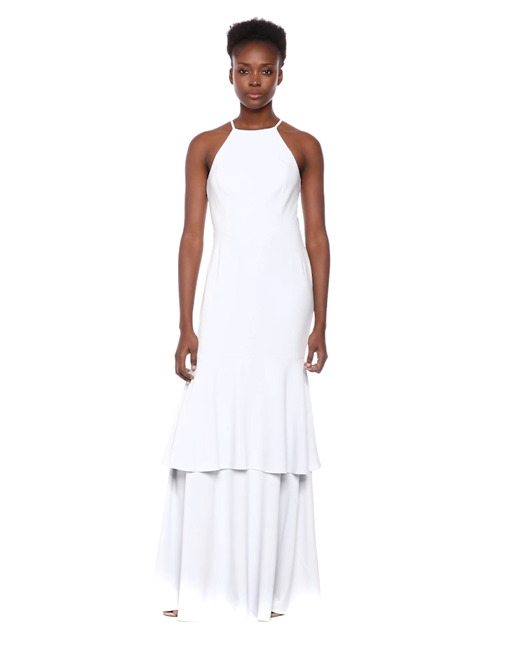 572d27aae79 Amazon.com  Halston Heritage Women s Sleeveless High-Neck Mesh Back Tiered  Gown  Clothing