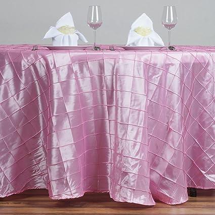 BalsaCircle 120u0026quot; Pintuck Fancy Round Tablecloths Linens   Pink