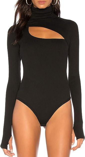 Fashion Women Turtleneck Leotard Bodysuit Tops Long Sleeve Stretch Knit Jumpsuit