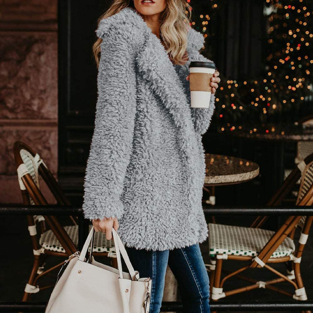 Goodtrade81 Womens Winter Warm Artificial Wool Coat Jacket Lapel Outerwear