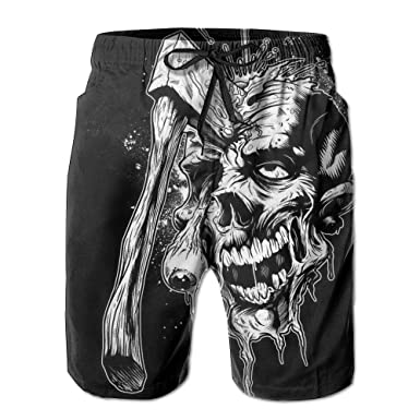 42c7c512e2 KfjTA Men s Cool Axe Skull Swimming Summer Beach Pants Classic Shorts For  Man