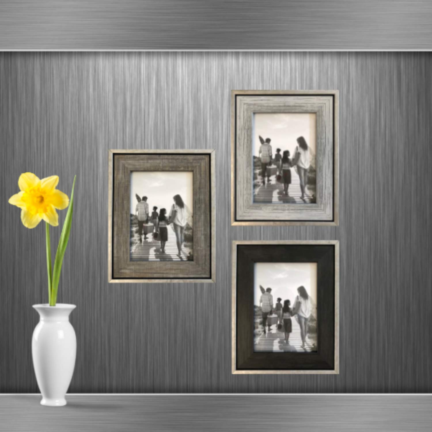 Tasse Verre 5x7 Rustic Frames (3-Pack) - Distressed Farmhouse Industrial Frame - Ready to Hang or Stand - Built-in Easel - Silver Galvanized Metal Look with Wood Insert by Tasse Verre (Image #4)