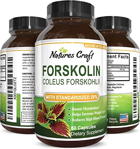 Natures Craft Forskolin Pure Supplement For Men and Women – Workout Enhancer Pills – Appetite Control Promotes Weight Loss – Testosterone Booster – Lean Muscle Builder -Natural Fat Burner
