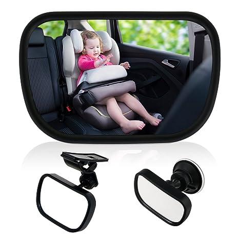 Einstellbare Auto Baby Ansicht hinten Sitz Baby Sicherheit Spiege R/ücksitzspiegel f/ür Babys Kindersitz mit Saugn/äpfe und Klammer Baby Kinder R/ückspiegel