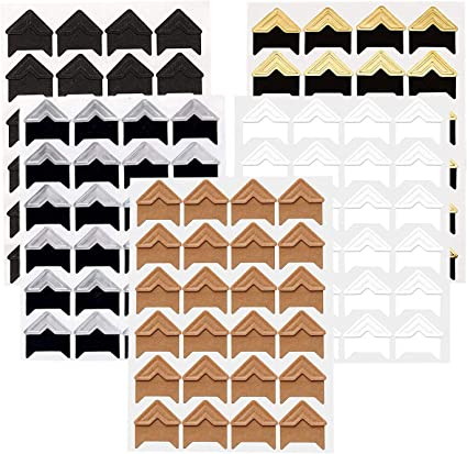 Photos Mounting Sticker Photo Corners Stickers Self Adhesive for Family DIY Scrapbooking 120Pcs 5 Color Picture Album