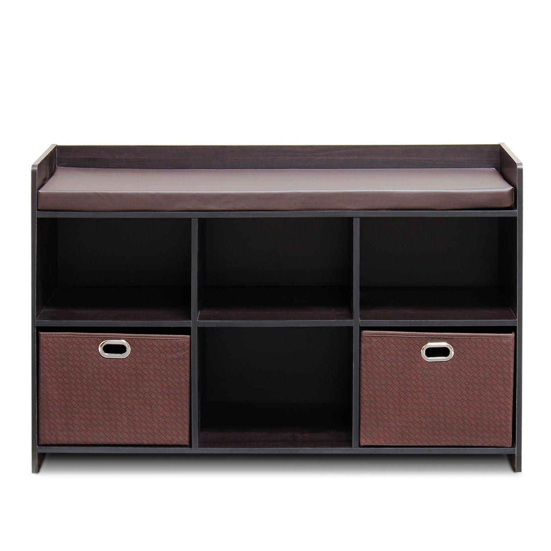 Furinno 13138EX/EX/BR Economical Storage Bench with Comfy Cushion, Espresso/Brown, Solid