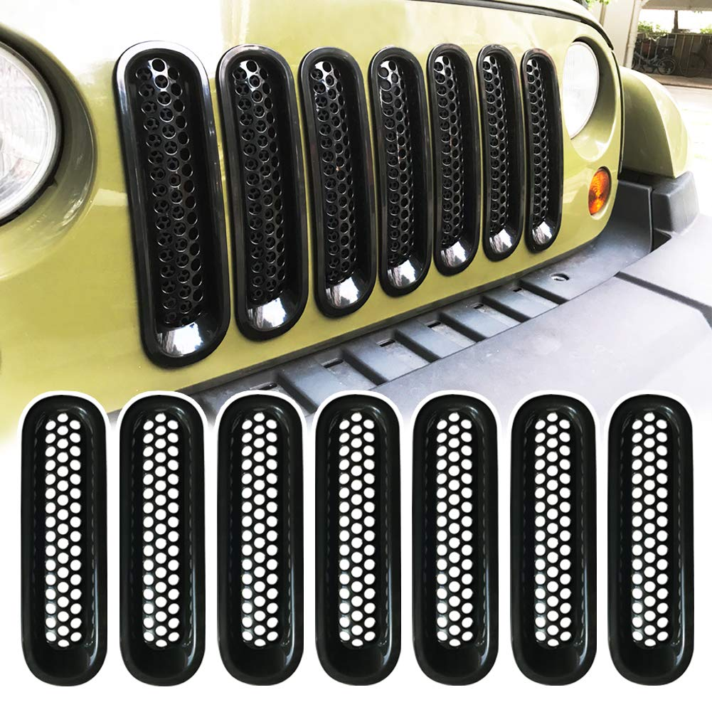 Pack of 7 RENHAIGY Front Grille Grill Mesh Inserts Matte Black Guards for 2007-2017 Jeep Wrangler JK Unlimited Rubicon Sahara Accessories