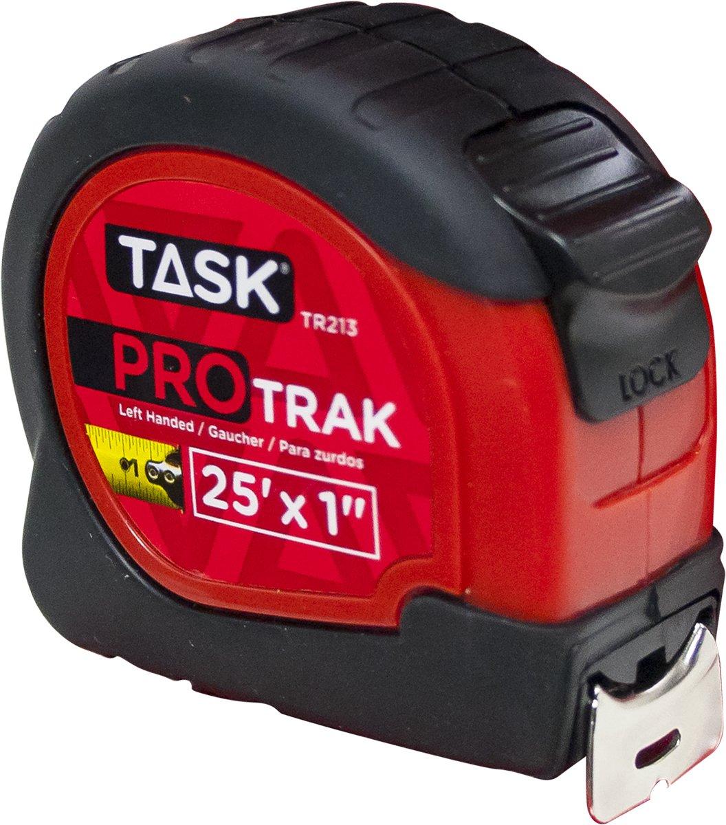 Task Tools TR213 25-Feet ProTrak Tape Measure, Left-Handed, Red