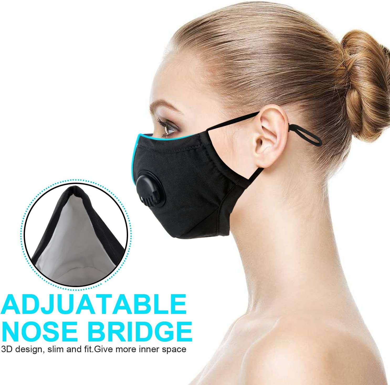 v/élo Course /à Pied Blanketswarm Lot de 5 Masques de Protection Contre la Pollution atmosph/érique de qualit/é Militaire Masque de s/écurit/é pour ext/érieur