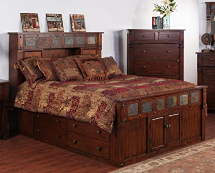 Sunny Designs 2322DC SQ Santa Fe Storage Bed With Slate, Queen