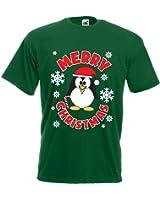 Mens merry Christmas penguin T-shirt