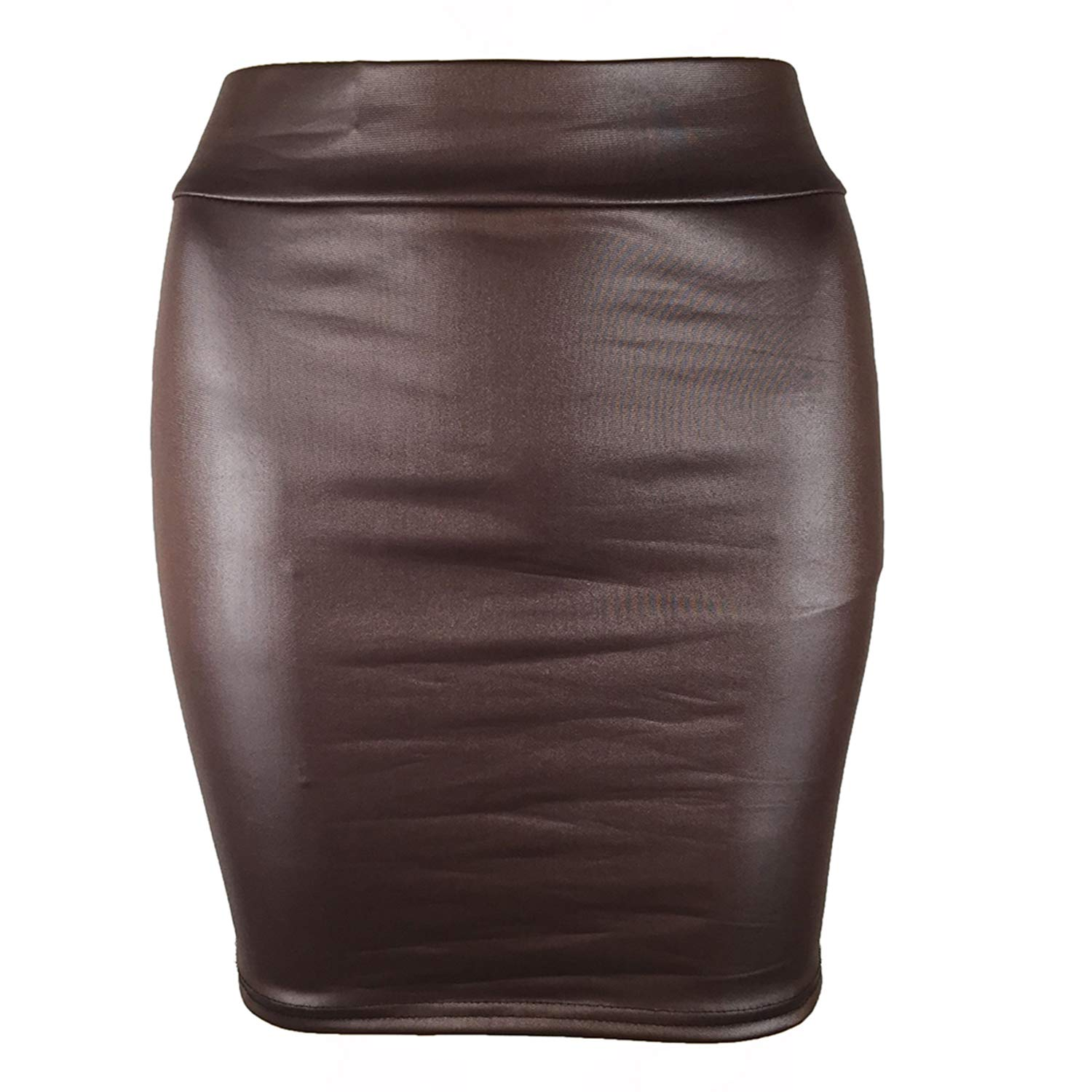 High Waist Skirt Women Plus Size Faux Leather Black Clubwear Female Solid Elastic Fake Leather Package Hip Bodycon Mini Skirt